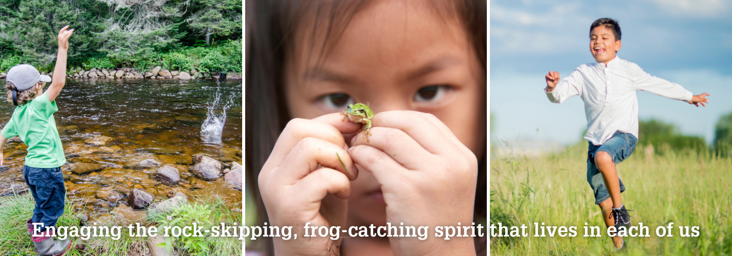Three Photos of children: left a child skipping rocks child, middle holding a frog and right skipping through a prairie